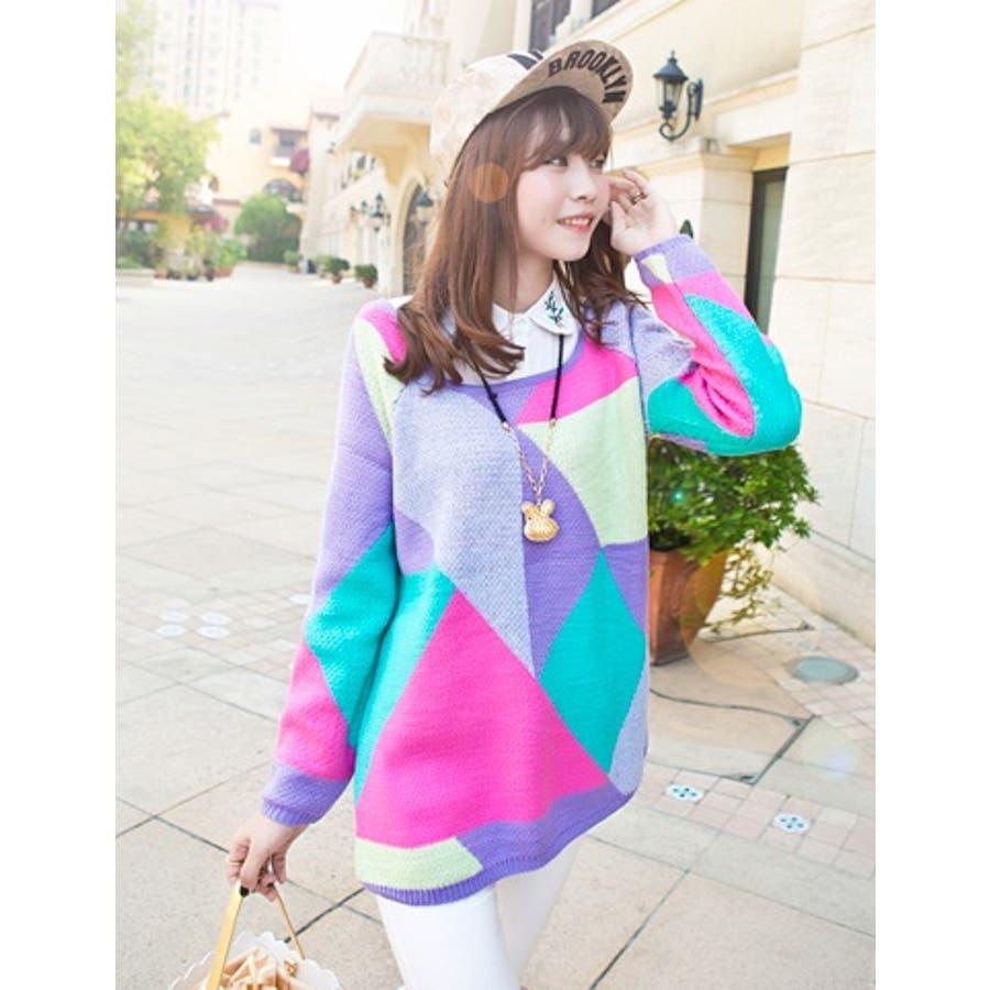 韓国ファッション♪カラフルニットセーター☆ 1