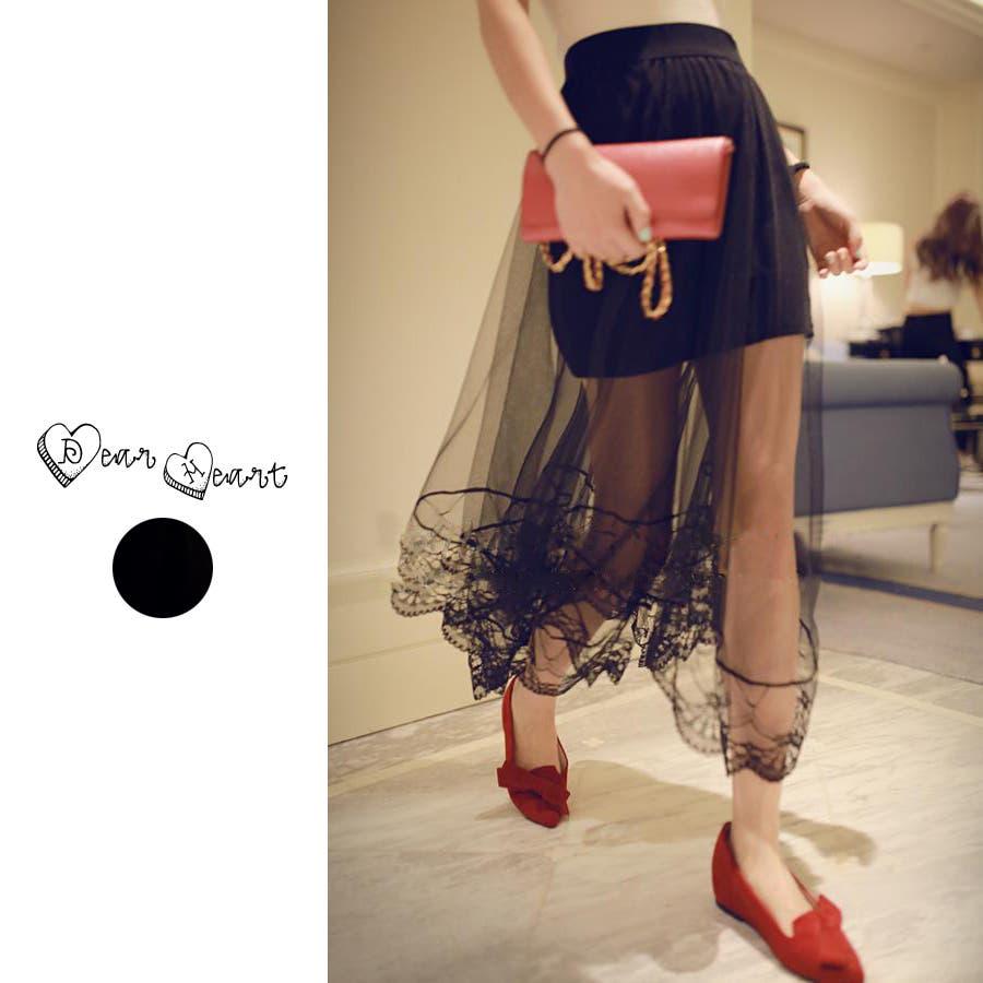韓国ファッション♪レースデザインチュールスカート☆2015春夏新作