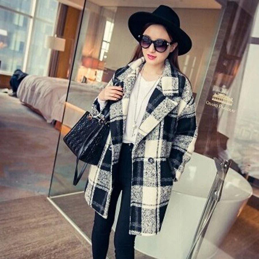 韓国ファッション♪チェック柄テーラードジャケットコート チェスターコート☆2015秋冬新作 2