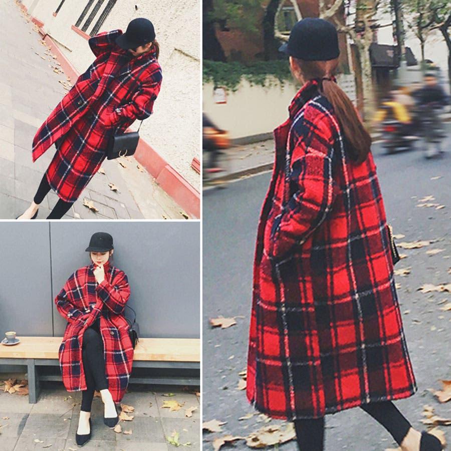 韓国ファッション♪チェック柄ロングジャケットコート☆2016秋冬新作