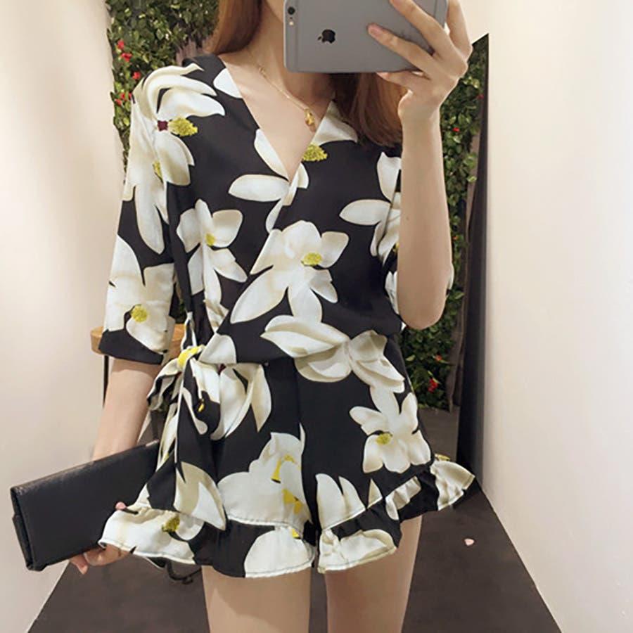 買って損なし トレンドファッション♪花柄ロンパース サロペット 2016春夏新作 敬意