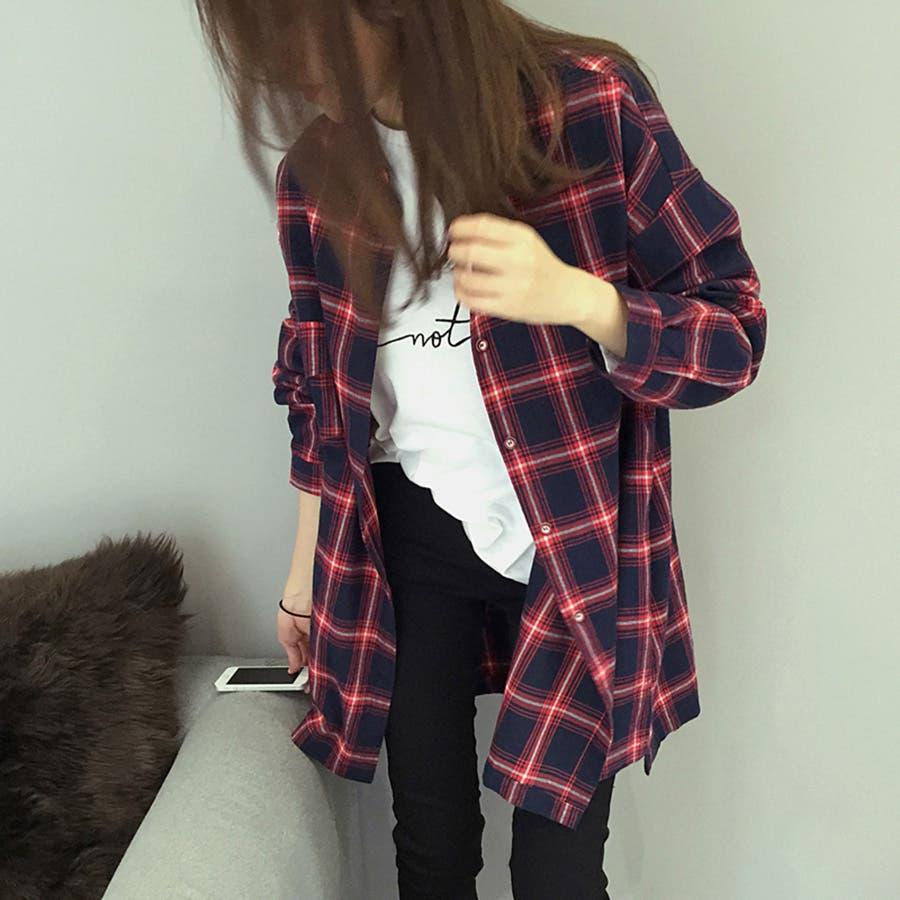 トレンドファッション♪チェック柄ロングシャツ☆2016秋冬新作