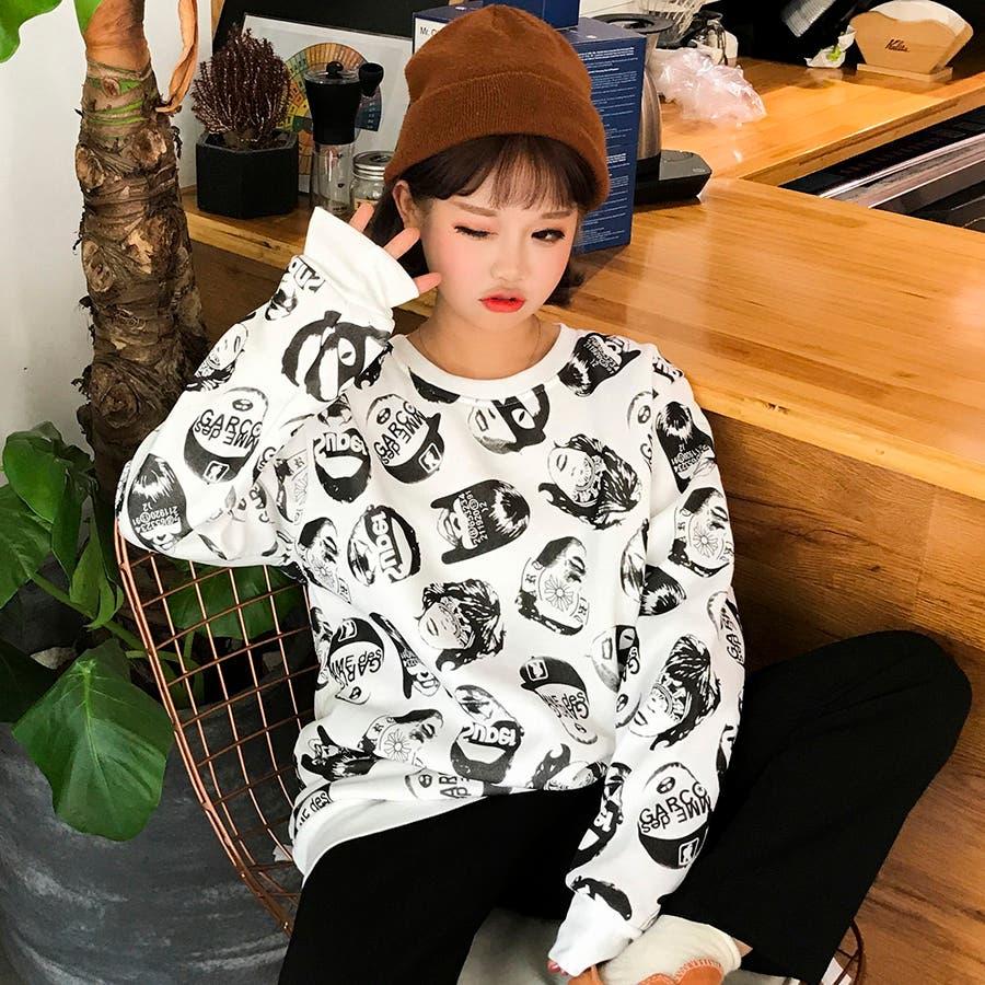 トレンドファッション♪ユニーク柄トレーナー カットソー☆2016秋冬新作 トップス 韓国ファッション