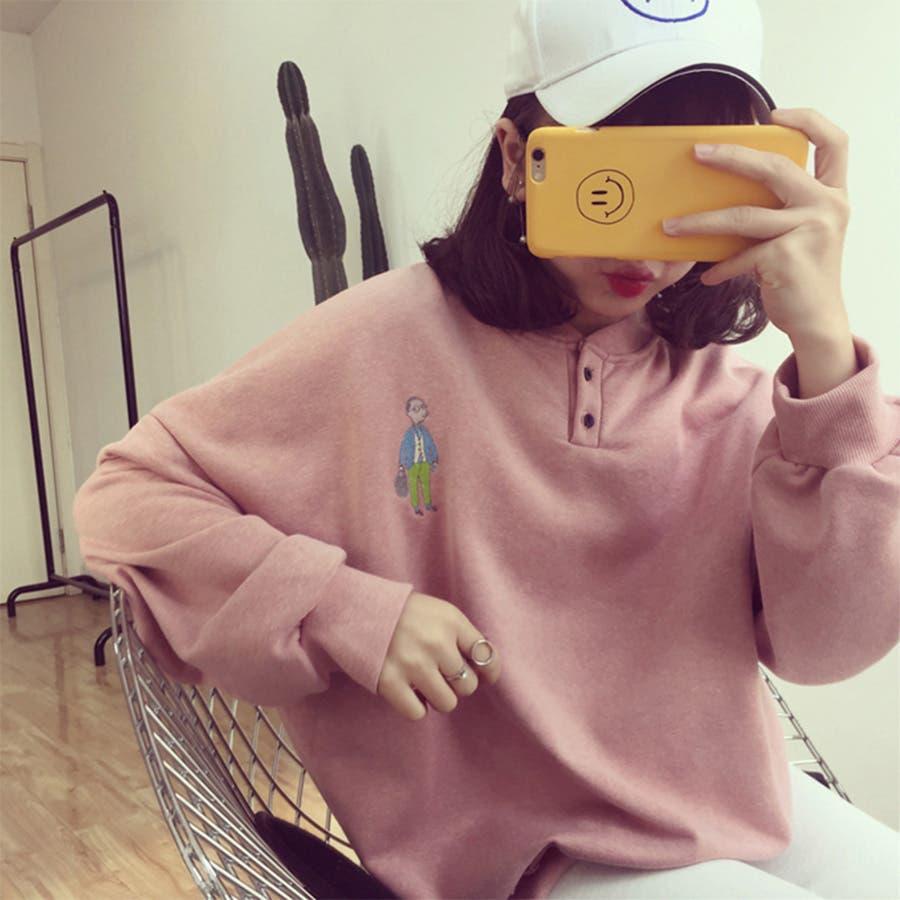 ★トレンドファッション♪バックプリントトレーナー★2016秋冬新作 裏起毛 トップス 韓国ファッション 刺繍 1