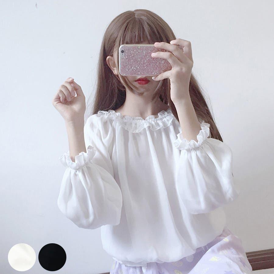 トレンドファッション♪レースフリルブラウス☆秋冬新作 韓国ファッション