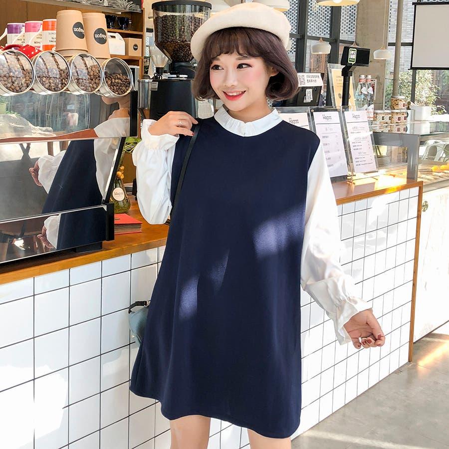 ★トレンドファッション♪フェイクレイヤードワンピース★2017秋新作 韓国ファッション 1