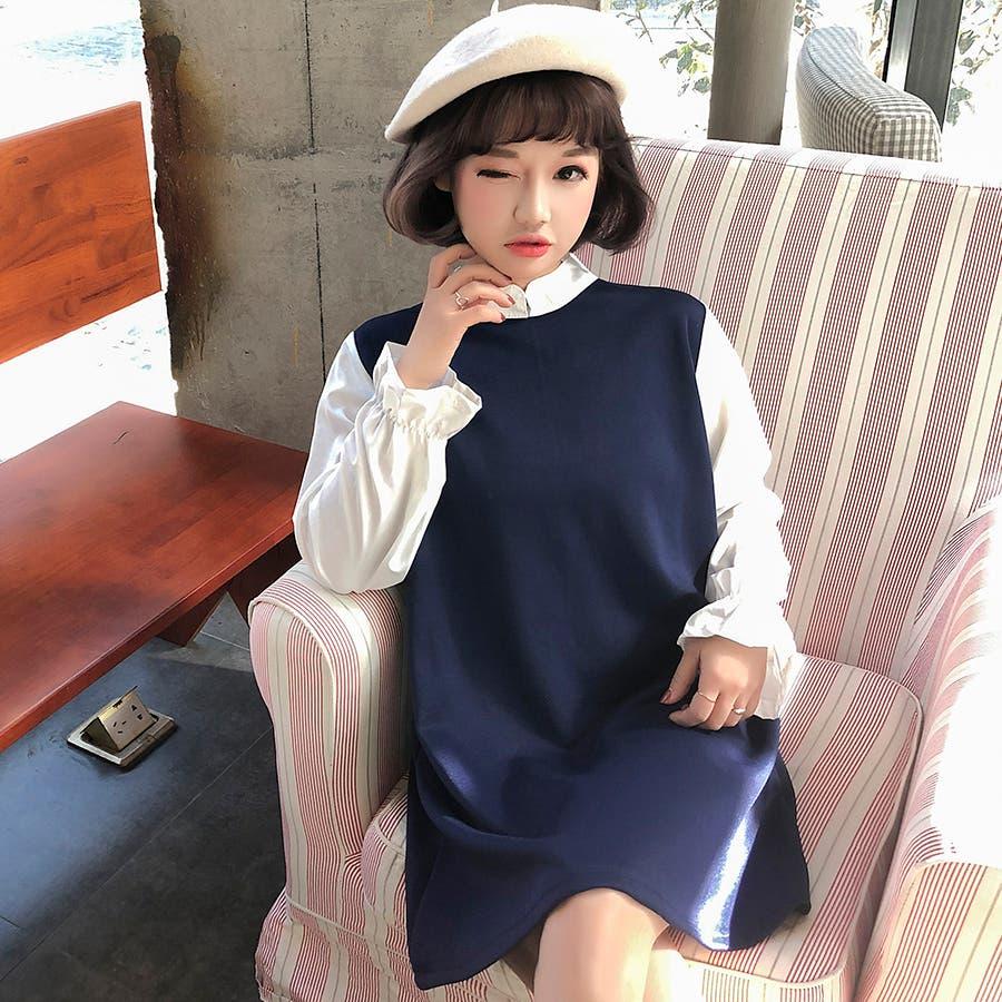 ★トレンドファッション♪フェイクレイヤードワンピース★2017秋新作 韓国ファッション 2