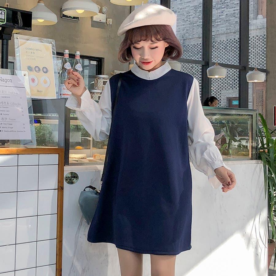 ★トレンドファッション♪フェイクレイヤードワンピース★2017秋新作 韓国ファッション 3