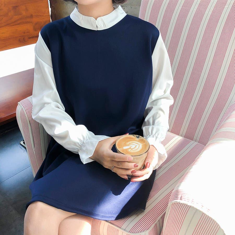★トレンドファッション♪フェイクレイヤードワンピース★2017秋新作 韓国ファッション 4
