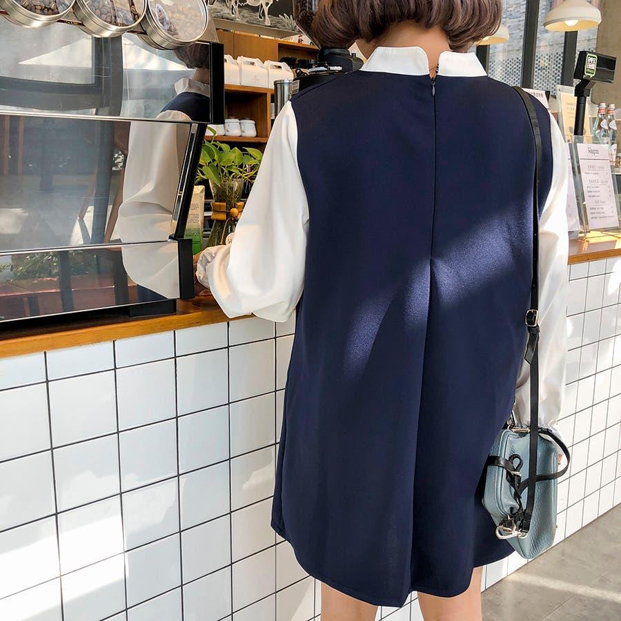 ★トレンドファッション♪フェイクレイヤードワンピース★2017秋新作 韓国ファッション 5