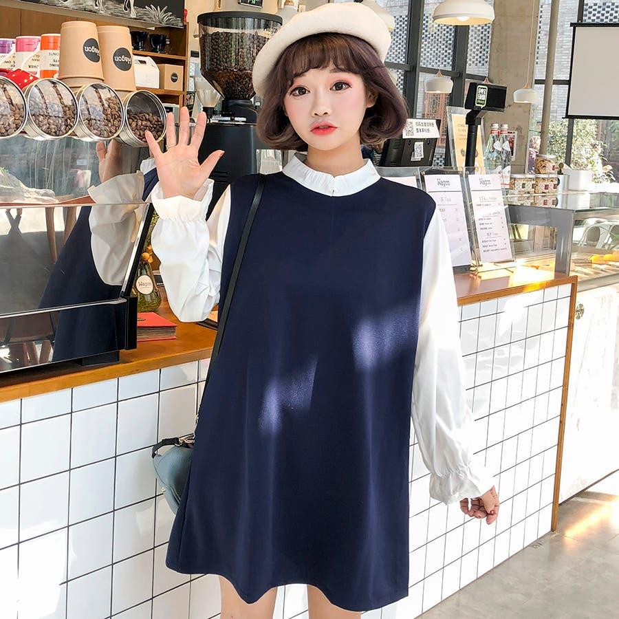 ★トレンドファッション♪フェイクレイヤードワンピース★2017秋新作 韓国ファッション 6