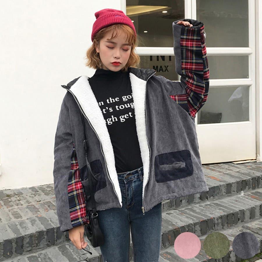 ★トレンドファッション♪チェック柄切替コーデュロイジャケットコート★2017秋新作 韓国ファッション 2