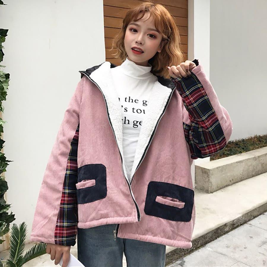 ★トレンドファッション♪チェック柄切替コーデュロイジャケットコート★2017秋新作 韓国ファッション 1