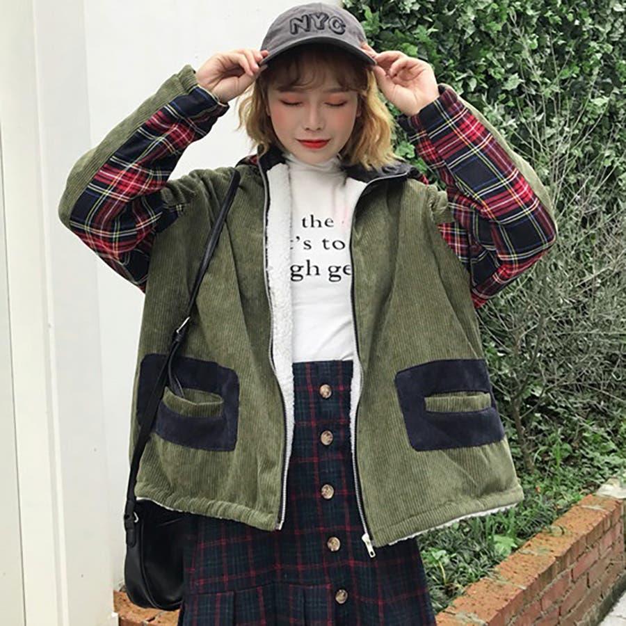 ★トレンドファッション♪チェック柄切替コーデュロイジャケットコート★2017秋新作 韓国ファッション 3