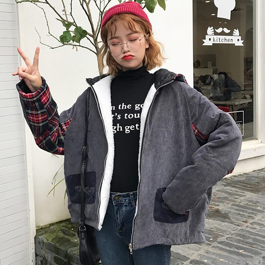 ★トレンドファッション♪チェック柄切替コーデュロイジャケットコート★2017秋新作 韓国ファッション 4