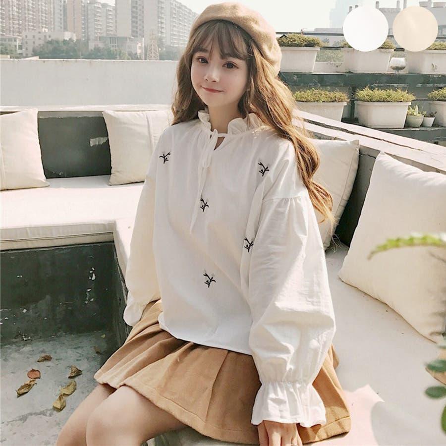 トレンドファッション♪花柄刺繍ブラウス☆2018春夏新作 韓国ファッション