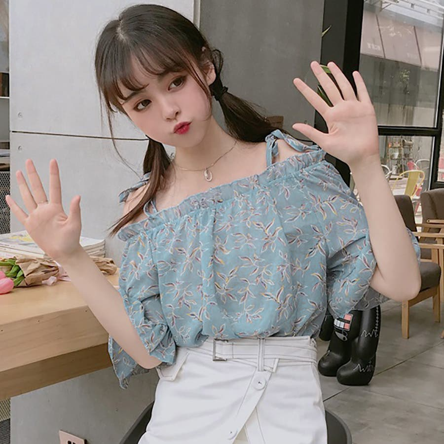 ★トレンドファッション♪花柄ボートネックブラウス★2018春夏新作 韓国ファッション 7