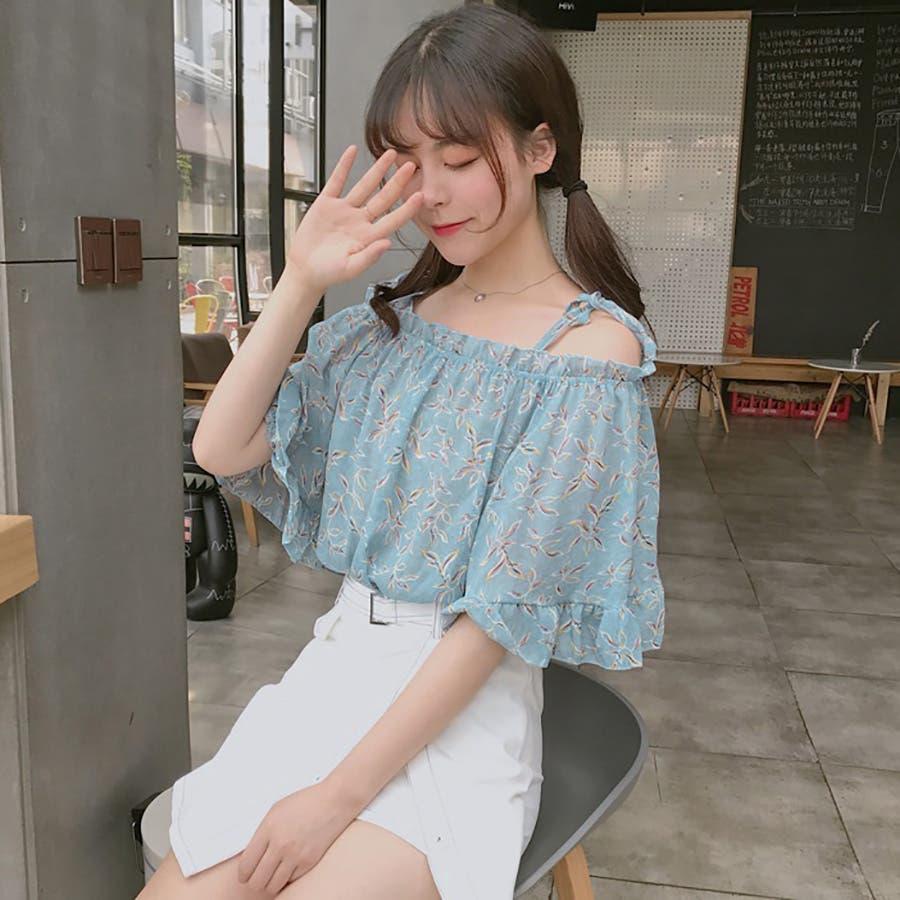 ★トレンドファッション♪花柄ボートネックブラウス★2018春夏新作 韓国ファッション 4