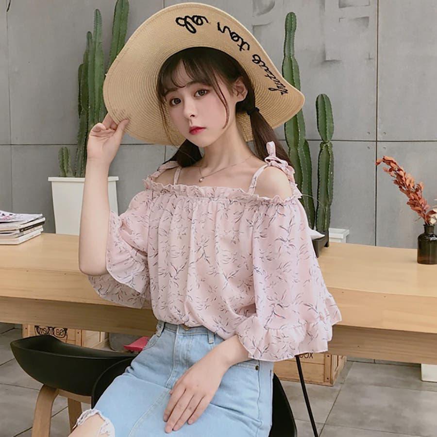 ★トレンドファッション♪花柄ボートネックブラウス★2018春夏新作 韓国ファッション 10