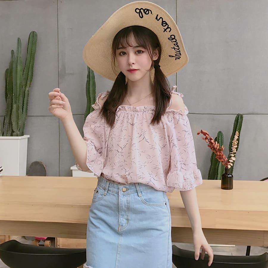 ★トレンドファッション♪花柄ボートネックブラウス★2018春夏新作 韓国ファッション 3