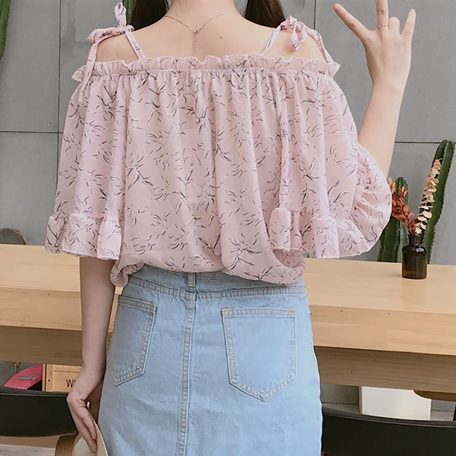 ★トレンドファッション♪花柄ボートネックブラウス★2018春夏新作 韓国ファッション 5