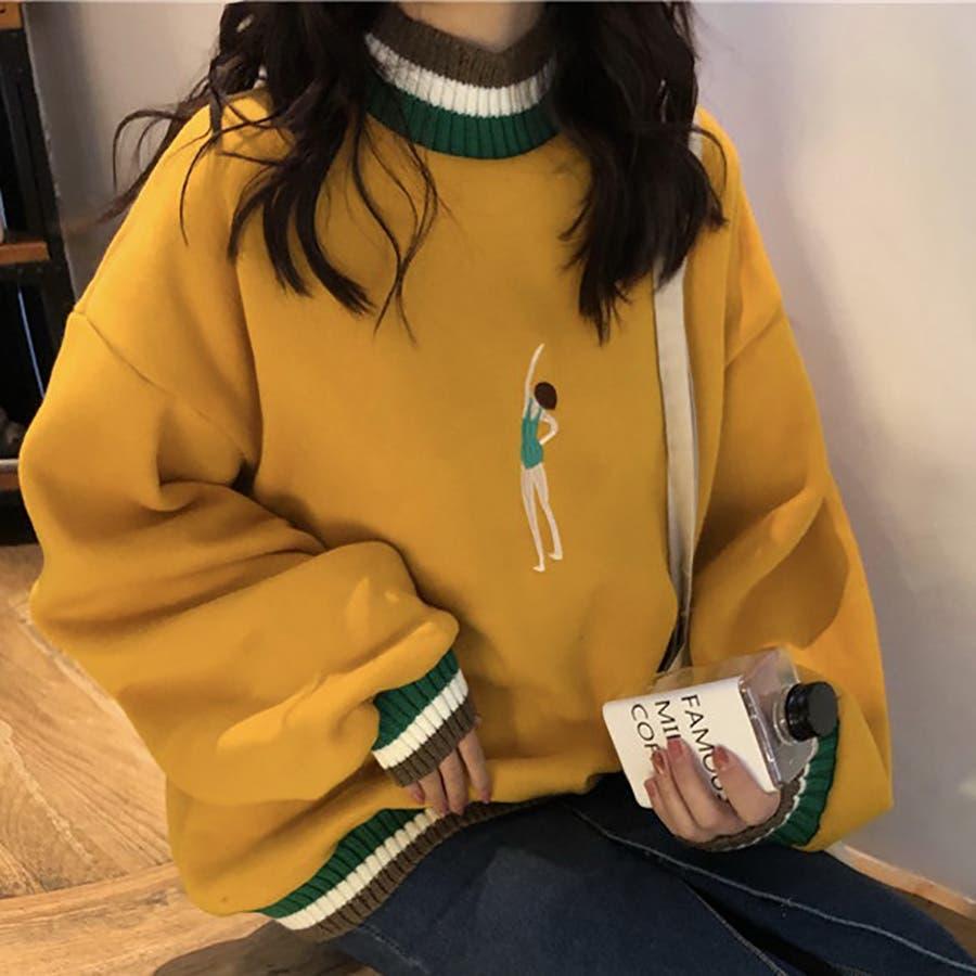 ★トレンドファッション♪刺繍デザイン裏起毛トレーナー★2018秋冬新作 韓国ファッション 9