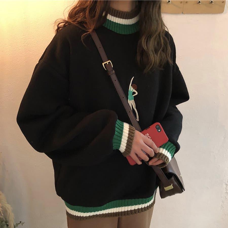 ★トレンドファッション♪刺繍デザイン裏起毛トレーナー★2018秋冬新作 韓国ファッション 2