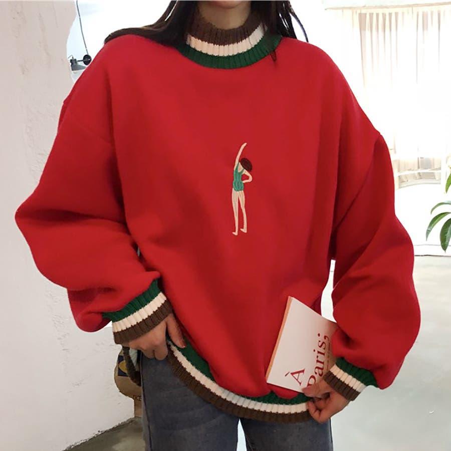 ★トレンドファッション♪刺繍デザイン裏起毛トレーナー★2018秋冬新作 韓国ファッション 11