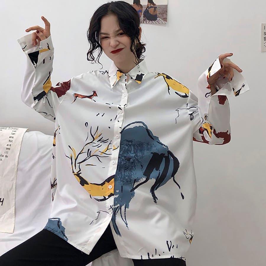 78ba56bed91 ☆トレンドファッション♪ユニーク柄襟付シャツ☆春夏新作 韓国 ...