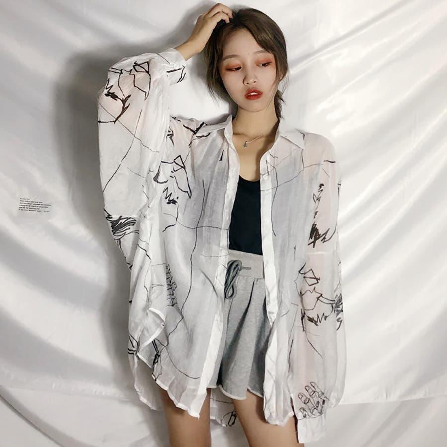 5fd3dfbe66c ☆トレンドファッション♪ユニーク柄薄手シャツ☆春夏新作 韓国 ...