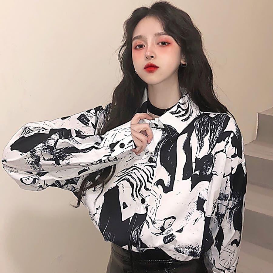 4e99430ac2e ☆トレンドファッション♪ユニーク柄シャツ☆春夏新作 韓国ファッション ...