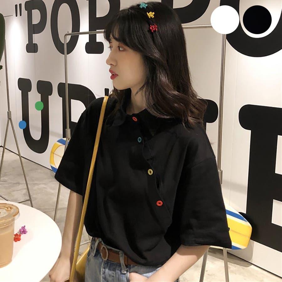 ★トレンドファッション♪カラフル釦デザインカットソー★春夏新作 韓国ファッション 21