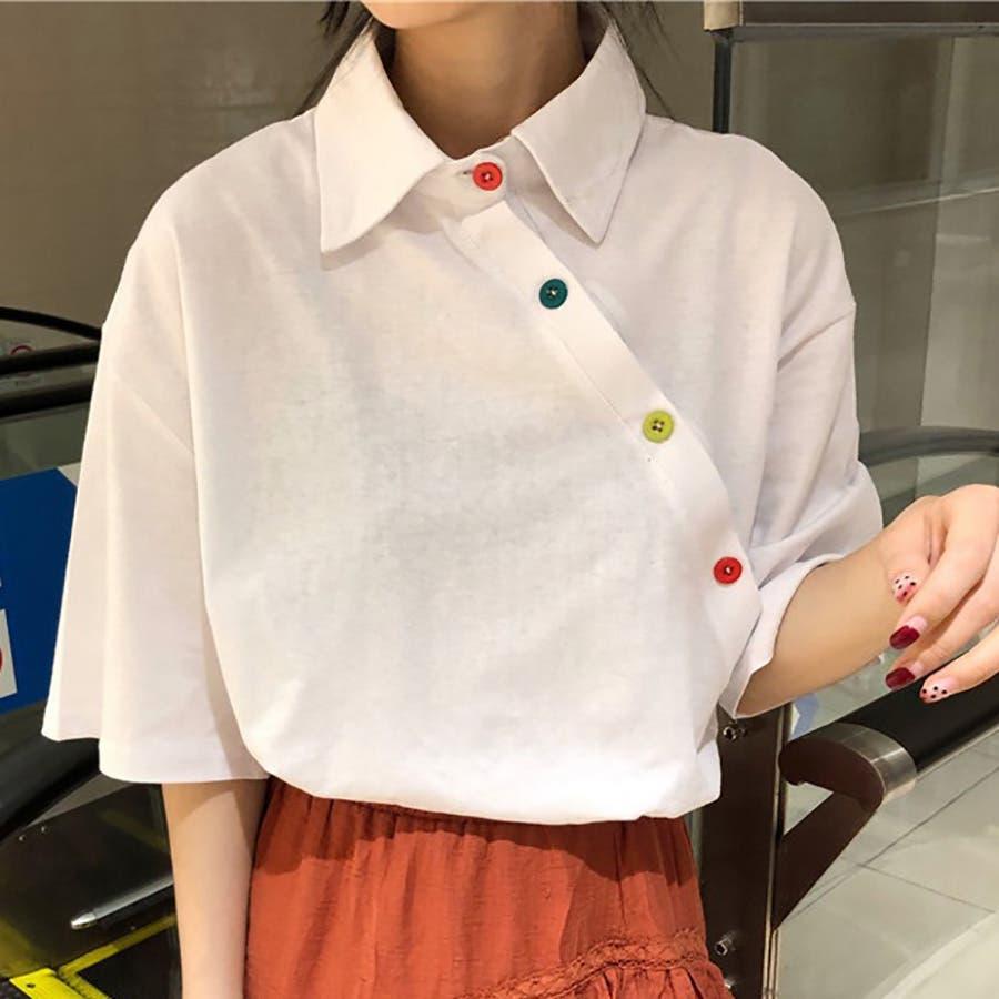 ★トレンドファッション♪カラフル釦デザインカットソー★春夏新作 韓国ファッション 4