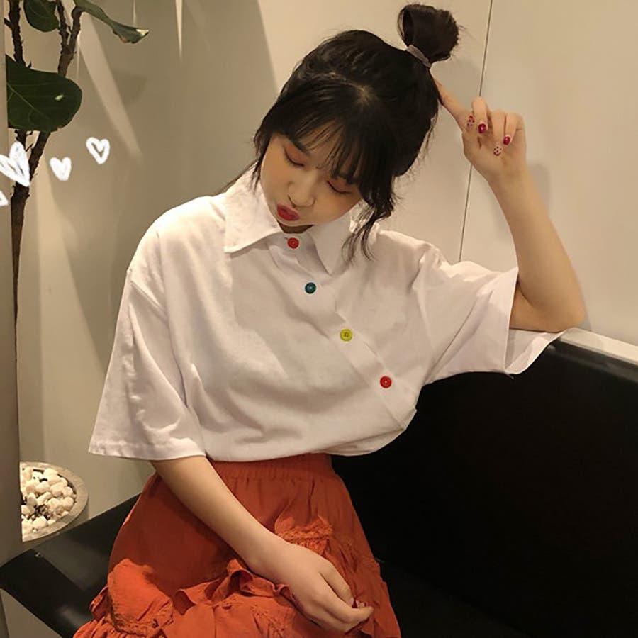 ★トレンドファッション♪カラフル釦デザインカットソー★春夏新作 韓国ファッション 16