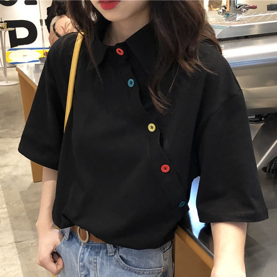 ★トレンドファッション♪カラフル釦デザインカットソー★春夏新作 韓国ファッション 5