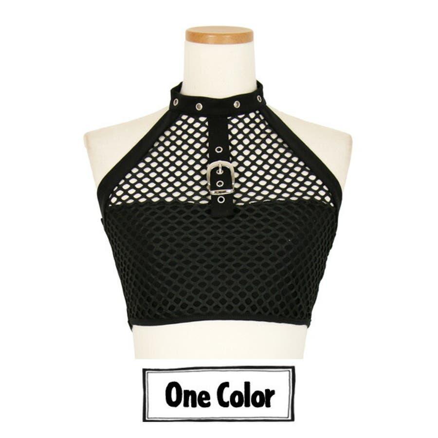 ホルターネック メッシュ トップス ハトメベルト ベアトップ 黒 ブラック ダンス 衣装 ヒップホップ コスチューム 韓国ファッション大きいサイズ 個性的 服 原宿系 9