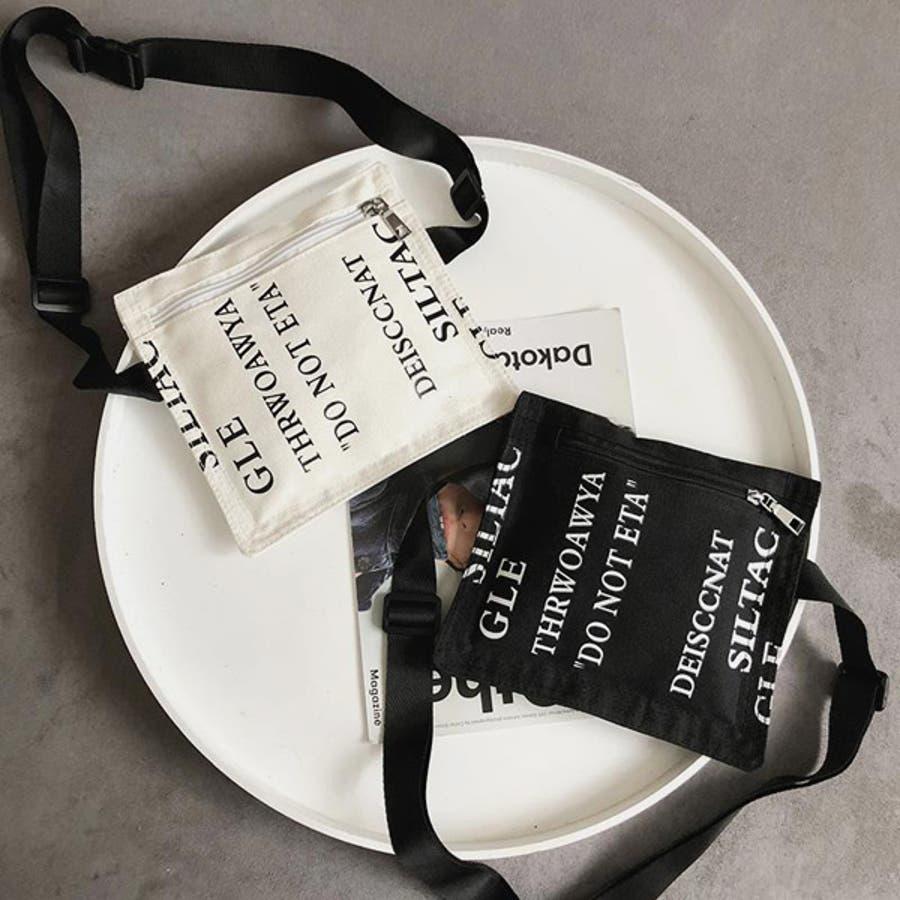 サコッシュ ミニ ショルダーバッグ 合皮 メッセージロゴ テキスト プリント スクエア型 白 黒 モノトーン ダンス 衣装ヒップホップ コスチューム 韓国 ファッション 大きいサイズ 個性的 服 原宿系 6