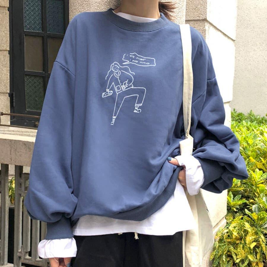 気の抜けた女の子のイラストプリントがかわいいビッグシルエットトレーナー 原宿系 ファッション レディース ゆめかわいい 服 奇抜 派手, 個性的  ダンス 衣装 コスチューム ヒップホップ 韓国 大きいサイズ 181129