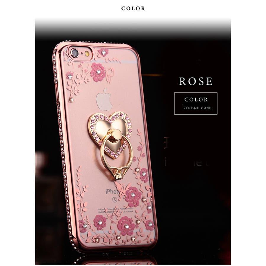 72158c734c iPhone用リング付きクリアタイプカバーケースビジュー iPhone6iPhone6PlusiPhone7iPhone7Plus対応薄型iphoneplusハート蝶花