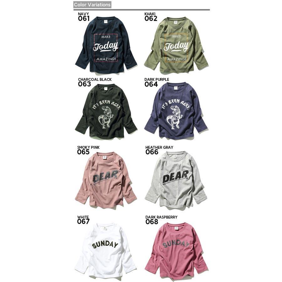 [devirock 全20色♪ボックスロゴ&恐竜&スター&スケボープリント長袖Tシャツ ロンT カットソー] 綿100% ベビーキッズ ジュニア 子供服 男の子 女の子 ダンス M1-3 2