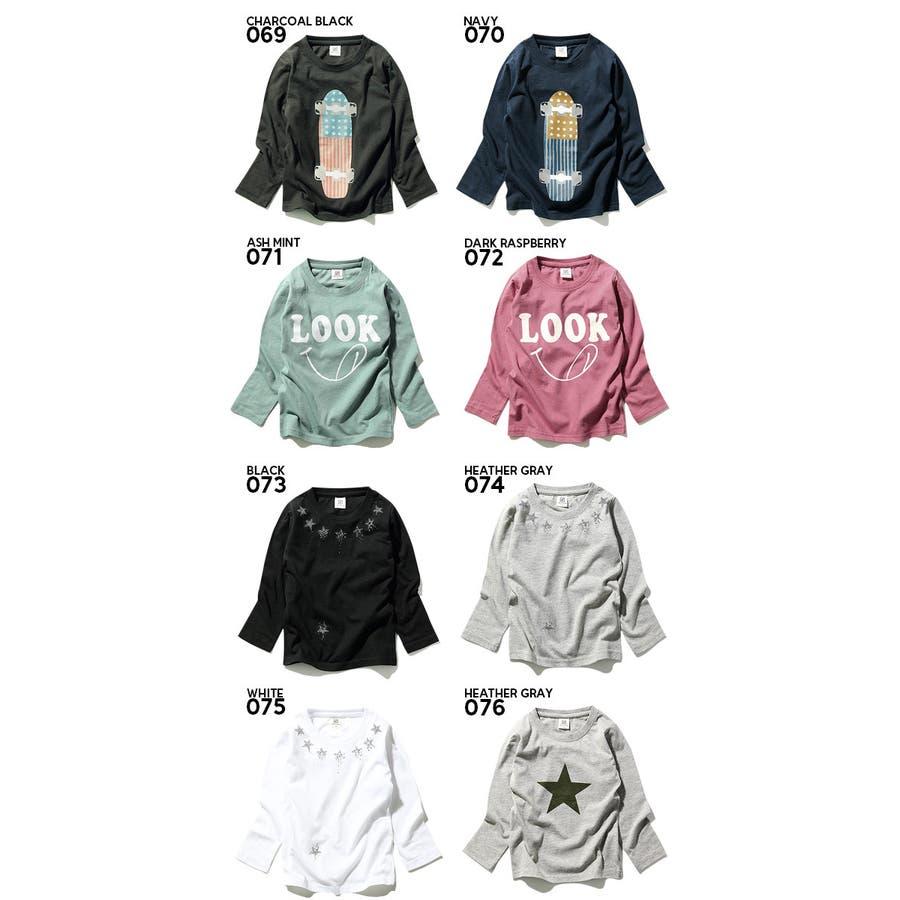 [devirock 全20色♪ボックスロゴ&恐竜&スター&スケボープリント長袖Tシャツ ロンT カットソー] 綿100% ベビーキッズ ジュニア 子供服 男の子 女の子 ダンス M1-3 3