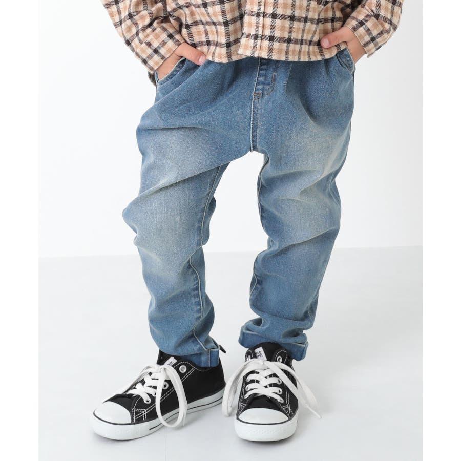 [devirock 楽デニム デニムタックパンツ サルエル 男の子 女の子 パンツ 長ズボン ボトムス] 子供服 キッズベビージュニア 韓国子供服 子ども 66