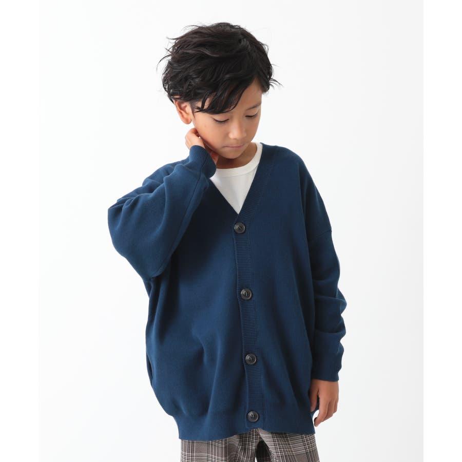 [devirock コットン混リラックスカーディガン 男の子 女の子 トップス 羽織り 長袖 長そで] 無地 子供服 キッズ ベビージュニア 韓国子供服 子ども 65