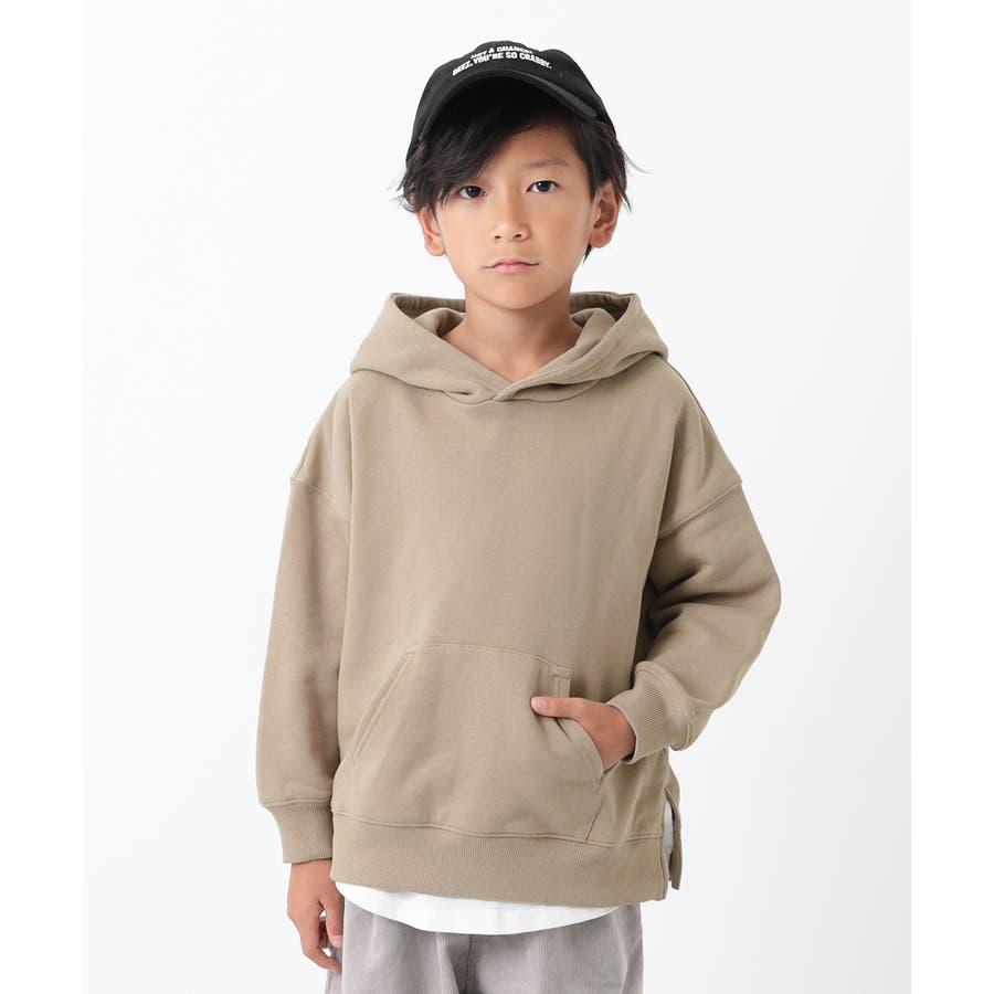 [devirock スウェットレイヤードプルパーカー 男の子 女の子 トップス トレーナー 重ね着風 長袖 長そで] 子供服 キッズベビー ジュニア 韓国子供服 子ども 46
