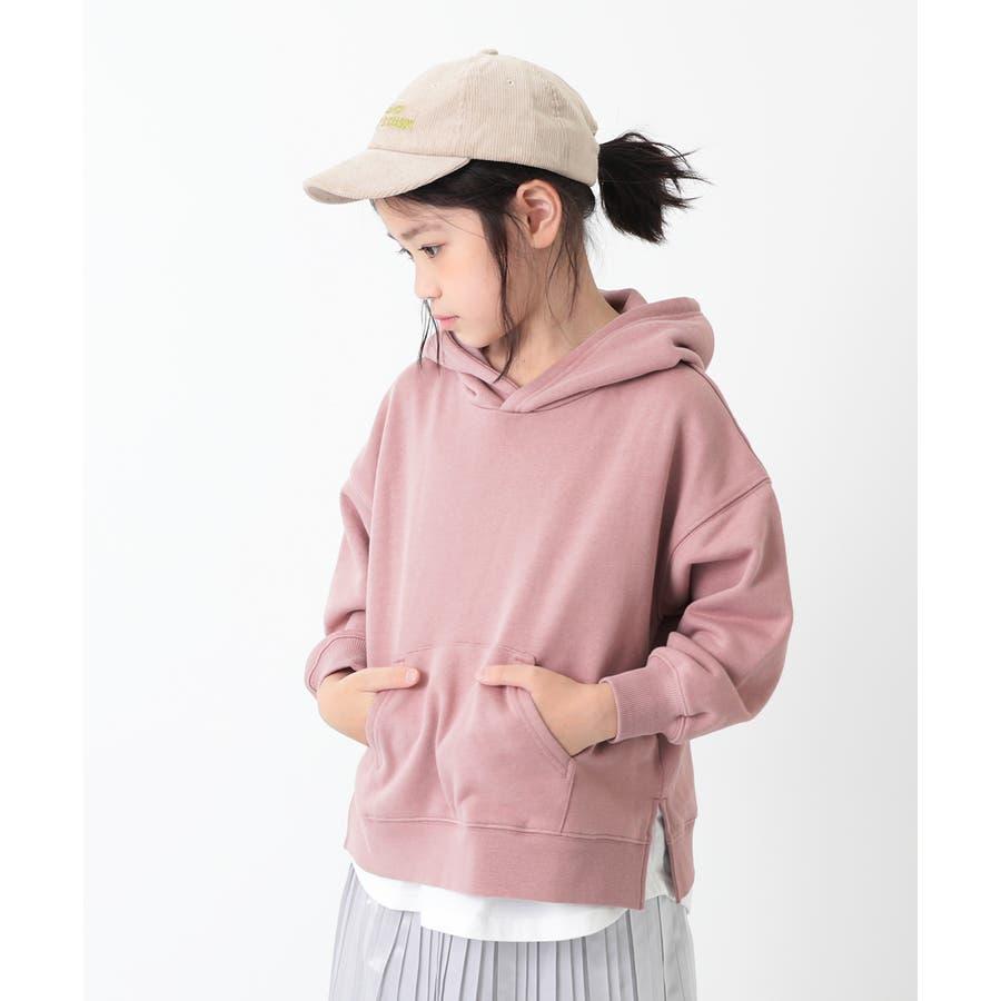 [devirock スウェットレイヤードプルパーカー 男の子 女の子 トップス トレーナー 重ね着風 長袖 長そで] 子供服 キッズベビー ジュニア 韓国子供服 子ども 93