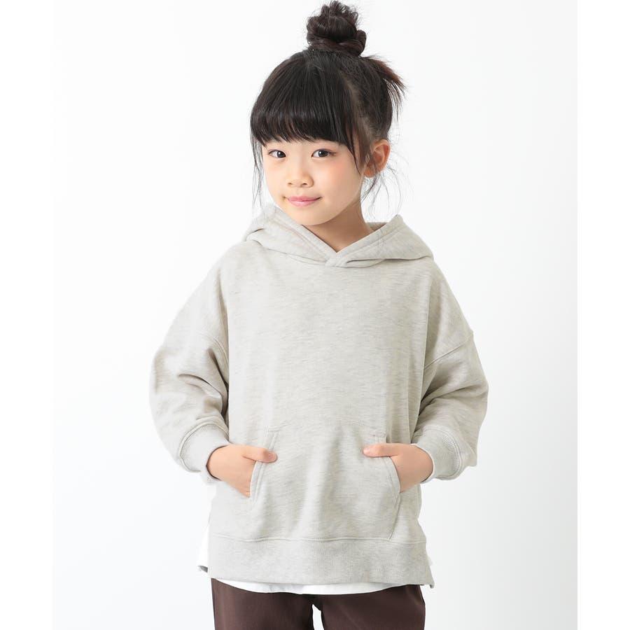 [devirock スウェットレイヤードプルパーカー 男の子 女の子 トップス トレーナー 重ね着風 長袖 長そで] 子供服 キッズベビー ジュニア 韓国子供服 子ども 45