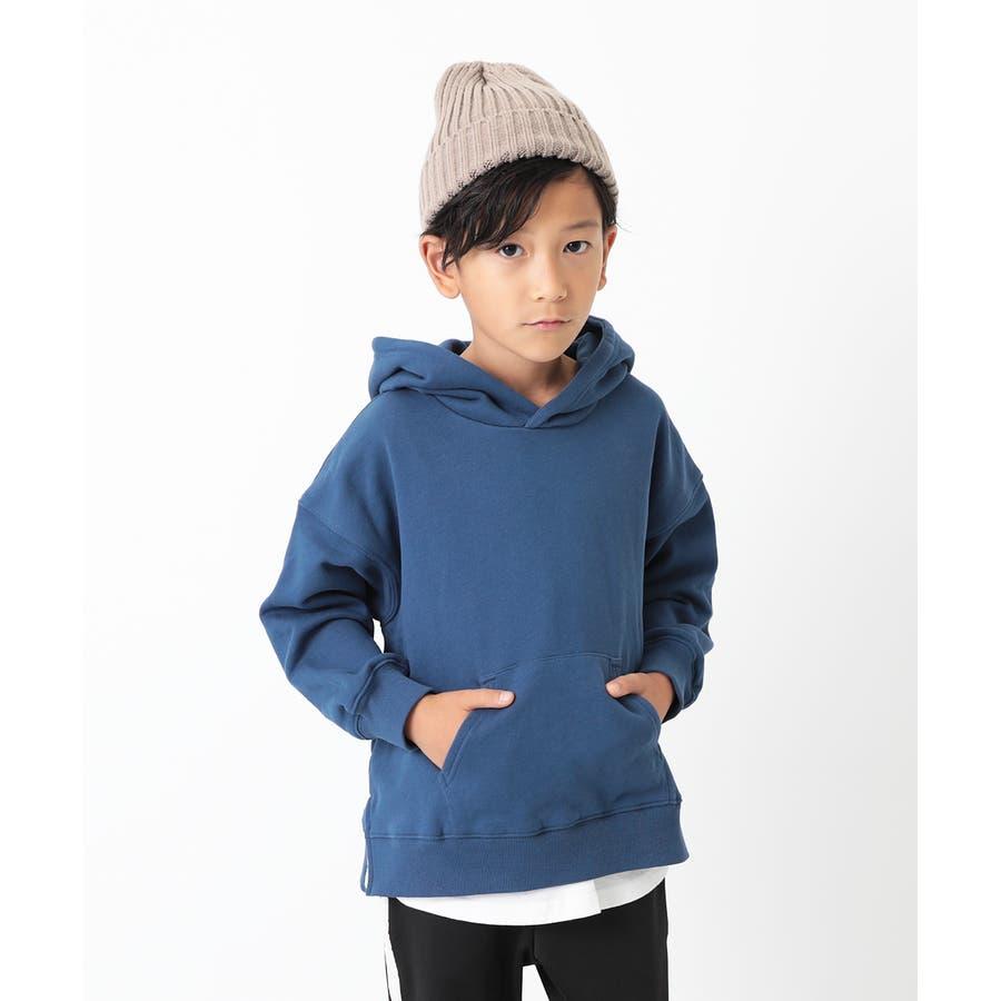 [devirock スウェットレイヤードプルパーカー 男の子 女の子 トップス トレーナー 重ね着風 長袖 長そで] 子供服 キッズベビー ジュニア 韓国子供服 子ども 76