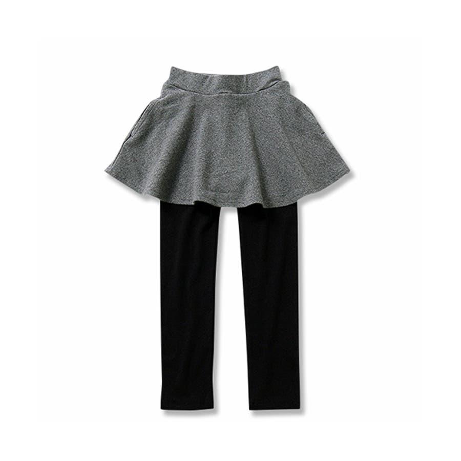 [全18色 上質ストレッチポケット付き10分丈スカッツ スカート付きレギンス 無地 柄] ストライプ カモフラ ボーダー花ベビーキッズジュニア 子供服 女の子 ダンス M1-2 3