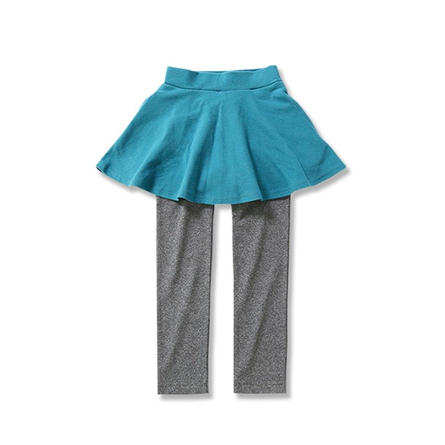 [全18色 上質ストレッチポケット付き10分丈スカッツ スカート付きレギンス 無地 柄] ストライプ カモフラ ボーダー花ベビーキッズジュニア 子供服 女の子 ダンス M1-2 7