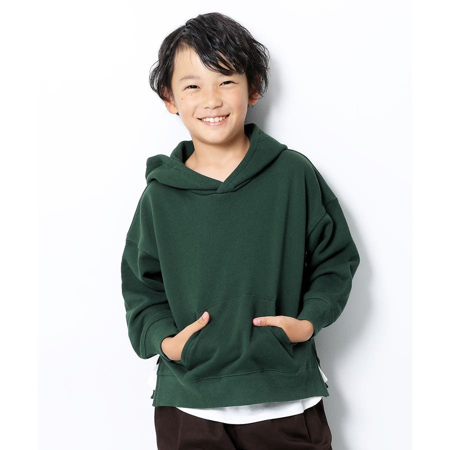 [devirock スウェットレイヤードプルパーカー 男の子 女の子 トップス トレーナー 重ね着風 長袖 長そで] 子供服 キッズベビー ジュニア 韓国子供服 子ども 58